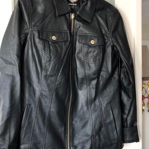 Dennis Basso Faux Leather Motorcycle Jacket